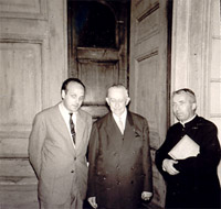 Victor Togni with Marcel Dupré and Don Aldo Lanini in Magadino, Switzerland 1963